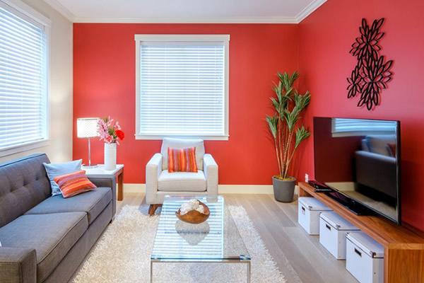 mẫu sơn nhà màu đỏ mệnh hỏa
