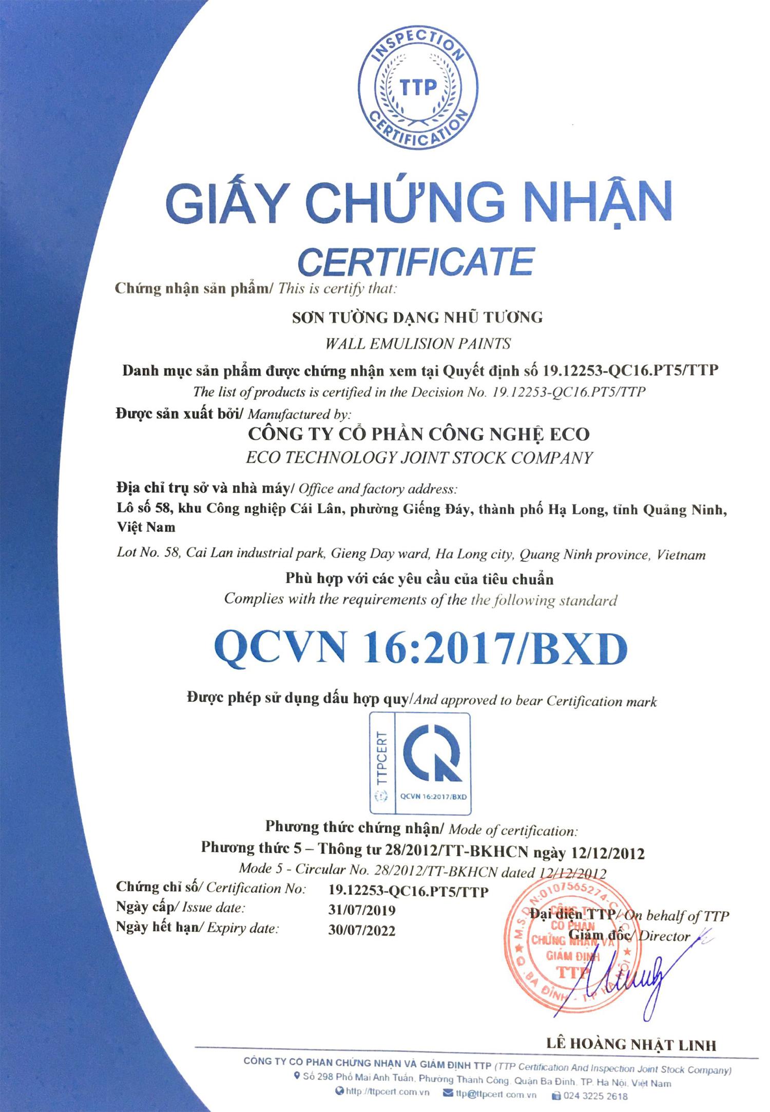 Giấy chứng nhận sản phẩm QCVN 16:2017/BXD