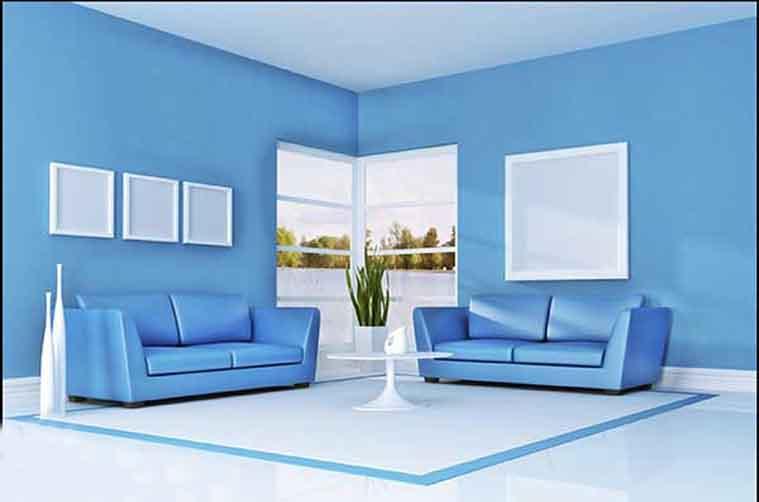 sơn nội thất màu xanh dương