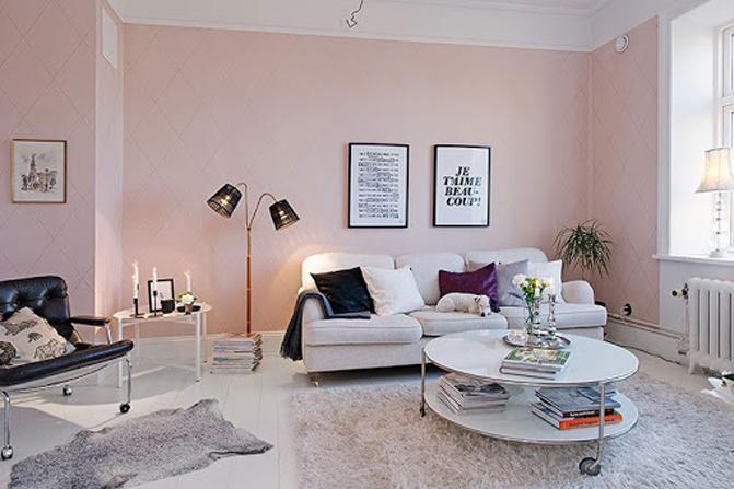 sơn nhà màu hồng pastel